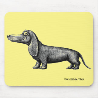 Funny cute dachshund ink pen drawing art mouse pad