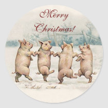 Funny Cute Dancing Pigs, Animals - Merry Christmas Classic Round Sticker