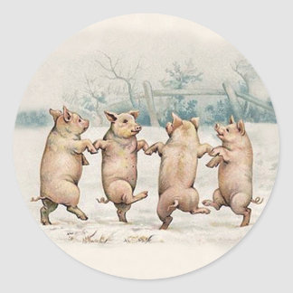 Funny Cute Dancing Pigs - Anthropomorphic Animals Classic Round Sticker