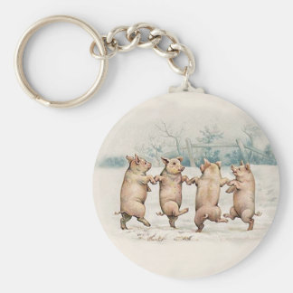 Funny Cute Dancing Pigs - Anthropomorphic Vintage Keychain