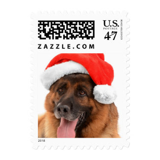 Funny Cute Dog In Christmas Hat Postage