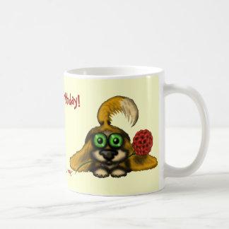 Funny cute dog with flower happy birthday mug