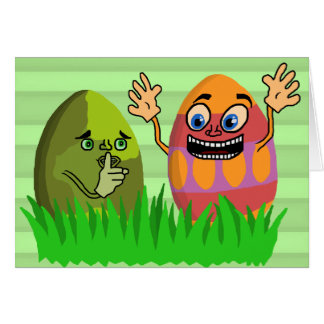 Funny Cute Easter Eggs Cartoon Greeting Card
