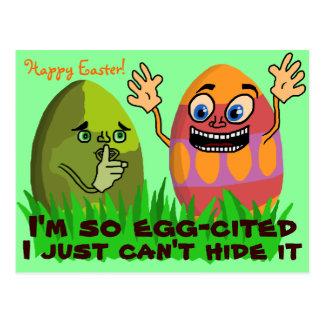 Funny Cute Easter Eggs Cartoon Postcard