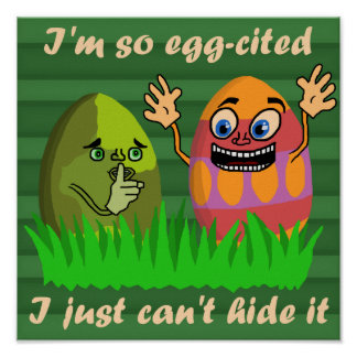 Funny Cute Easter Eggs Cartoon Poster