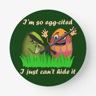 Funny Cute Easter Eggs Cartoon Round Clock