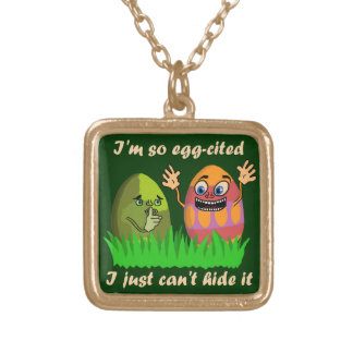 Funny Cute Easter Eggs Cartoon Square Pendant Necklace