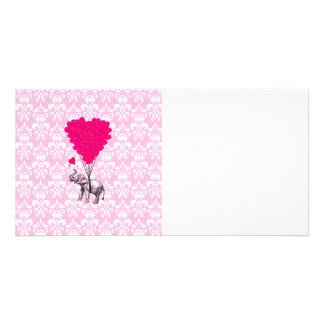 Funny cute elephant & pink damask card