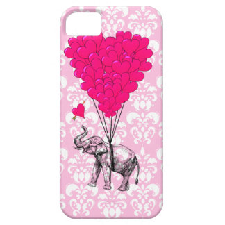 Funny cute elephant & pink damask iPhone 5 cases