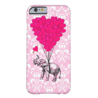 Funny cute elephant & pink damask barely there iPhone 6 case