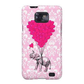 Funny cute elephant & pink damask galaxy s2 case