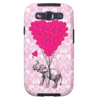Funny cute elephant & pink damask galaxy SIII case