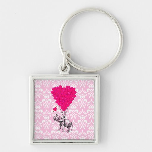 Funny cute elephant & pink damask Silver-Colored square keychain