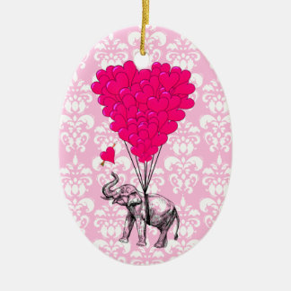 Funny cute elephant & pink damask christmas ornament