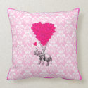 Funny cute elephant & pink damask pillow
