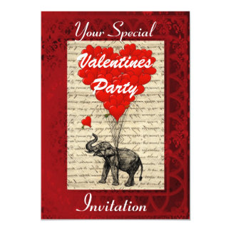 Funny cute elephant Valentines party Card