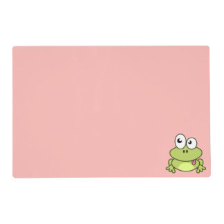 Funny cute frog cartoon kids placemat