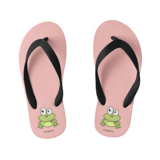 Funny cute frog cartoon name kid's flip flops