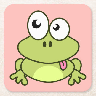 Funny cute frog cartoon pink girl square paper coaster