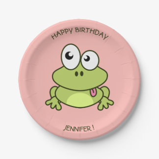Funny cute frog cartoon pink kids name birthday paper plate