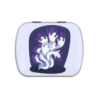 Funny cute ghosts halloween cartoon jelly belly tins