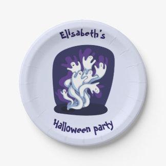 Funny cute ghosts halloween cartoon paper plate