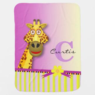 Funny Cute Giraffe Monogram | yellow lilac Baby Blankets