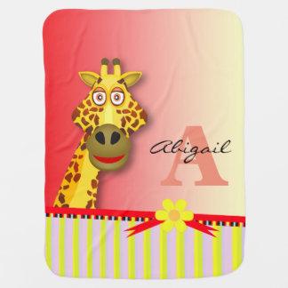 Funny Cute Giraffe Monogram | yellow red Receiving Blanket