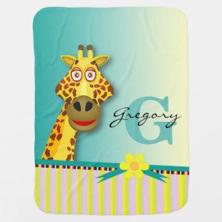 Funny Cute Giraffe Monogram | yellow teal Baby Blanket