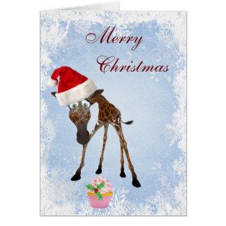 Funny Cute Giraffe Pink Cupcake Christmas Card