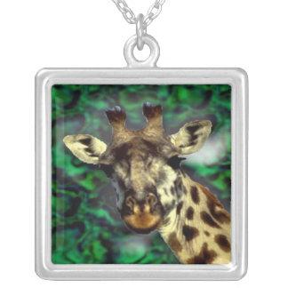 Funny cute Giraffe Square Pendant Necklace