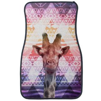 Funny Cute Giraffe Tribal Aztec Pink Purple Clouds Car Mat