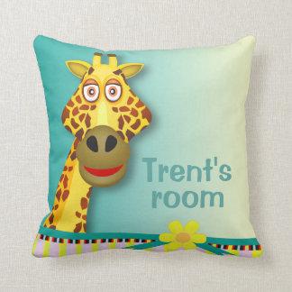 Funny Cute Giraffe | yellow teal Throw Pillow