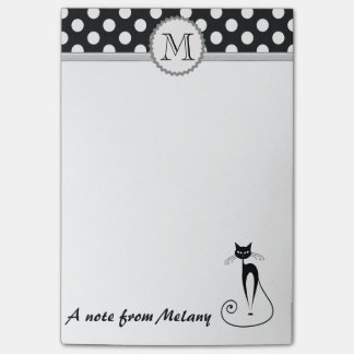 Funny cute girly black cat polka dots monogram post-it® notes