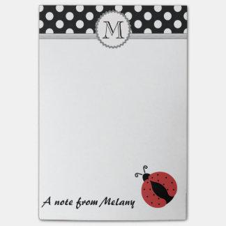 Funny cute girly ladybug polka dots monogram post-it notes