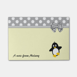 Funny cute girly penguin polka dots monogram post-it® notes