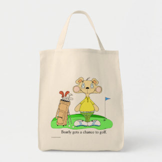 funny cute golf bear shopping tote