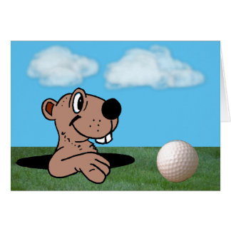 Funny & Cute Gopher & Golf Ball on Birthday Card