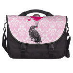 Funny cute Gothic vintage crow & love heart Laptop Bags