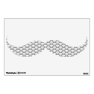 Funny cute grayscale mustaches pattern wall decal