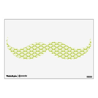 Funny cute green mustaches pattern wall decal