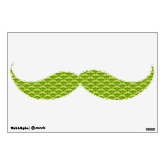 Funny cute green mustaches pattern wall sticker