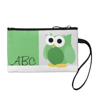 Funny Cute Green Owl Personalized Key Coin Clutch