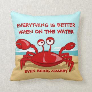 Funny Cute Grumpy Crab On The Beach Throw Pillows
