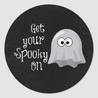Funny, Cute Halloween Ghost; Get your Spooky On Classic Round Sticker