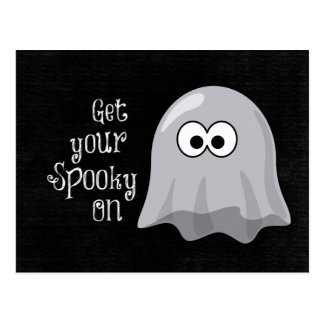 Funny, Cute Halloween Ghost; Get your Spooky On Postcard