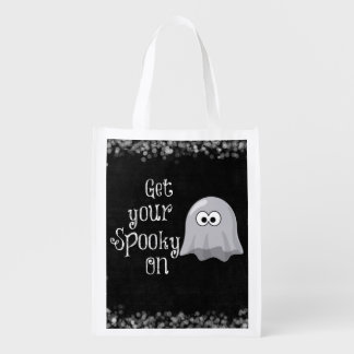 Funny, Cute Halloween Ghost; Get your Spooky On Reusable Grocery Bag