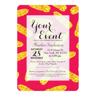 Funny Cute Hand Drawn Corn on the Cob on Neon PInk Card