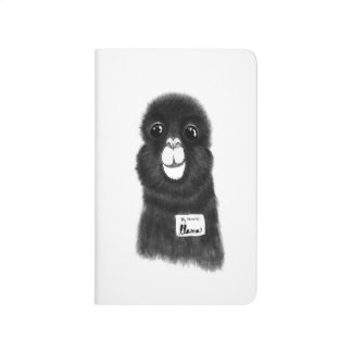 Funny Cute Hand Drawn Llama in Black and White Journal