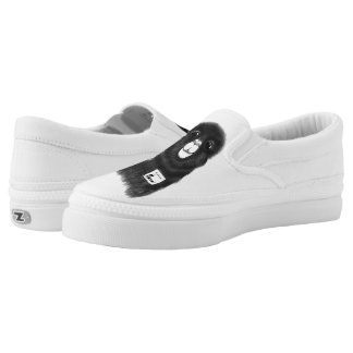Funny Cute Hand Drawn Llama in Black and White Slip-On Sneakers